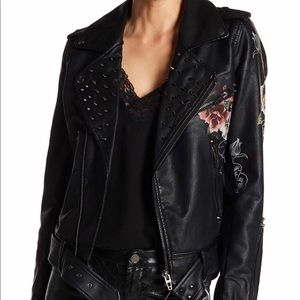 Blank NYC black floral studded leather jacket